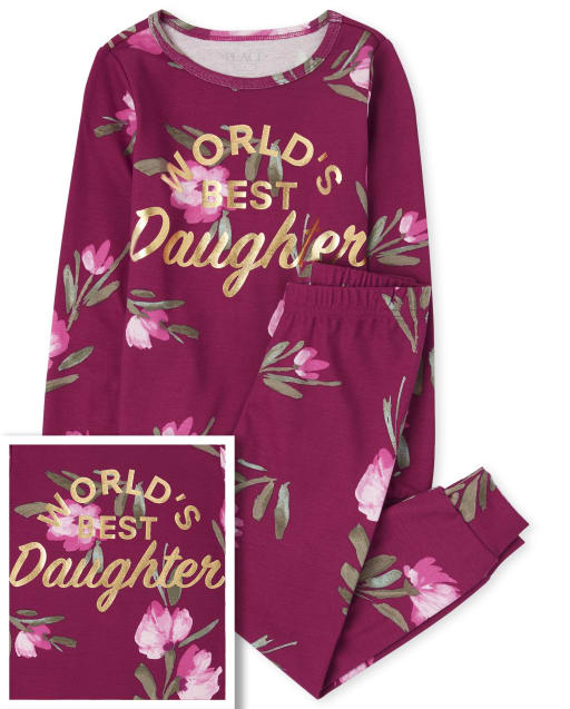 Girls Mommy And Me Long Sleeve Foil 'World's Best Daughter' Floral Print Matching Snug Fit Cotton Pajamas