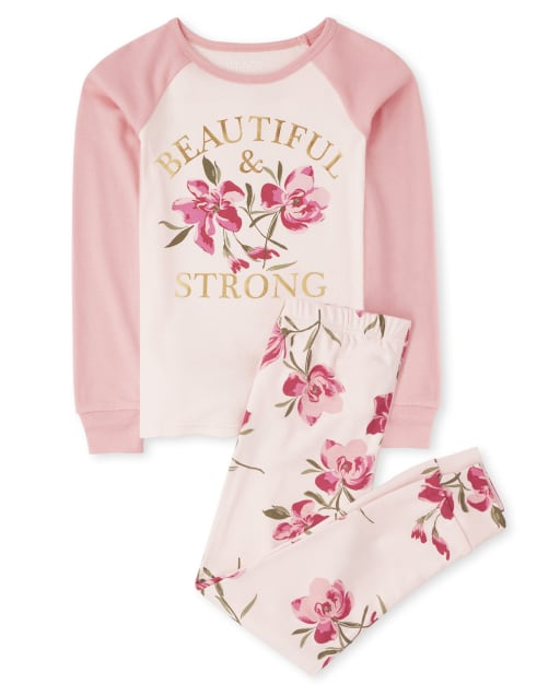 Girls Long Raglan Sleeve 'Beautiful & Strong' Floral Print Snug Fit Cotton Pajamas