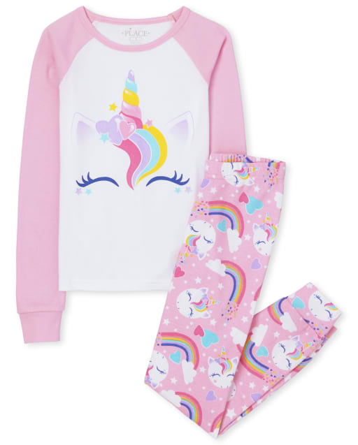 Girls Long Sleeve Unicorn Snug Fit Cotton Pajamas