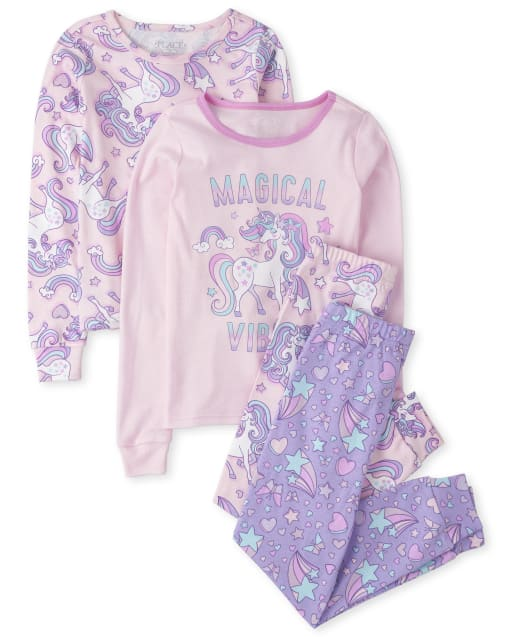 Girls Long Sleeve Unicorn Snug Fit Cotton 4-Piece Pajamas