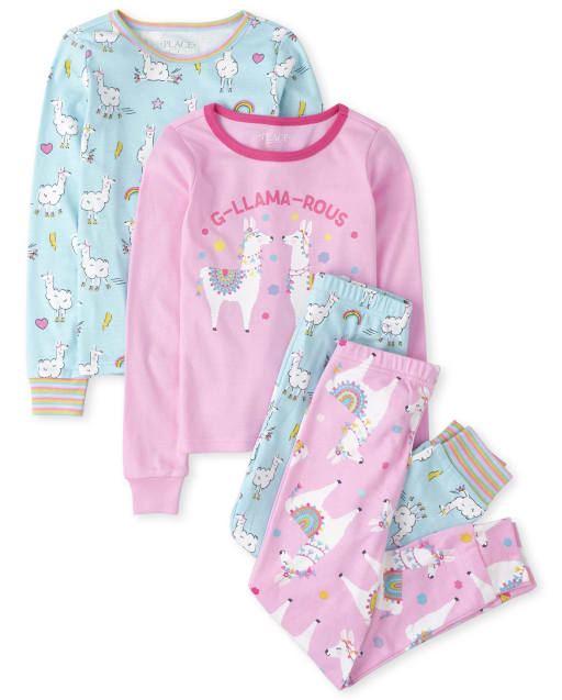 Girls Long Sleeve Llama Snug Fit Cotton 4-Piece Pajamas