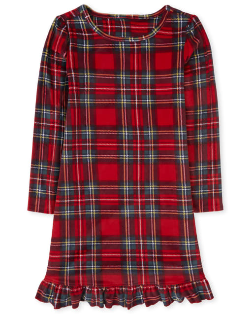 Girls Mommy And Me Christmas Long Sleeve Plaid Velour Matching Nightgown