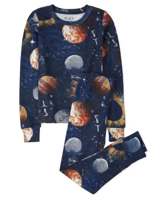 Boys Long Sleeve Space Snug Fit Cotton Pajamas