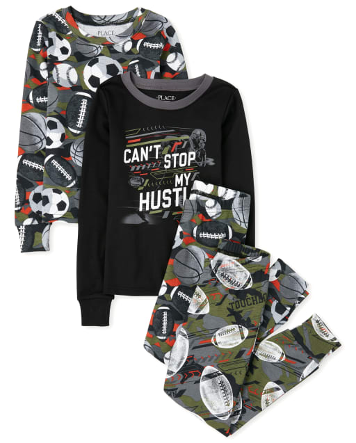 Boys Long Sleeve 'Can't Stop My Hustle' Sports Snug Fit Cotton 4-Piece Pajamas