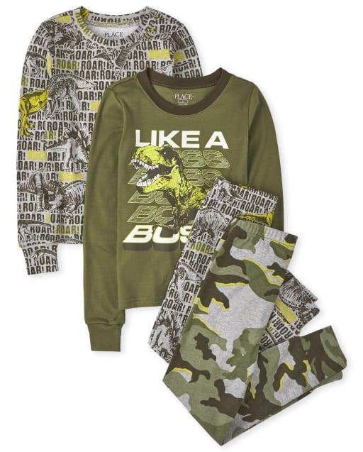 Boys Long Sleeve 'Like A Boss' Snug Fit Cotton 4-Piece Pajamas