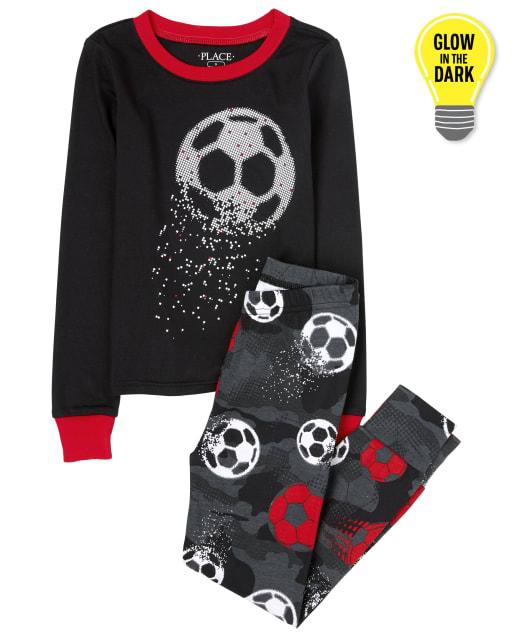 Boys Long Sleeve Glow In The Dark Soccer Snug Fit Cotton Pajamas
