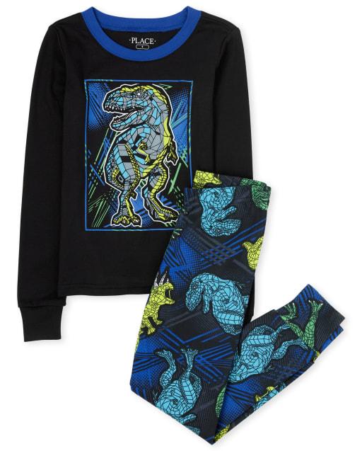 Boys Long Sleeve Dino Snug Fit Cotton Pajamas