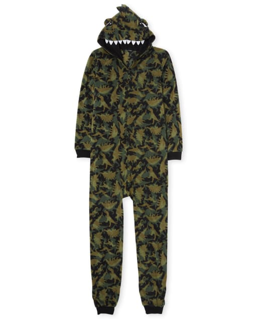 Unisex Adult Matching Family Long Sleeve Dino Print Fleece Hooded One Piece Pajamas