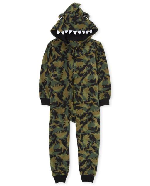 Boys Matching Family Dino Fleece One Piece Pyjamas