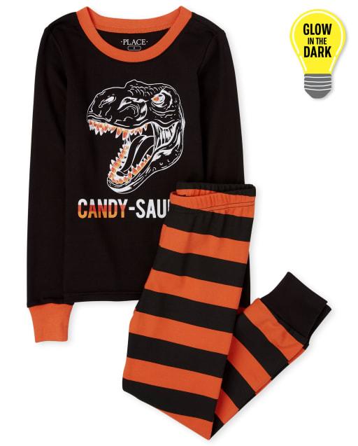 Unisex Kids Matching Family Halloween Long Sleeve Glow In The Dark Candy-Saurus Snug Fit Cotton Pajamas