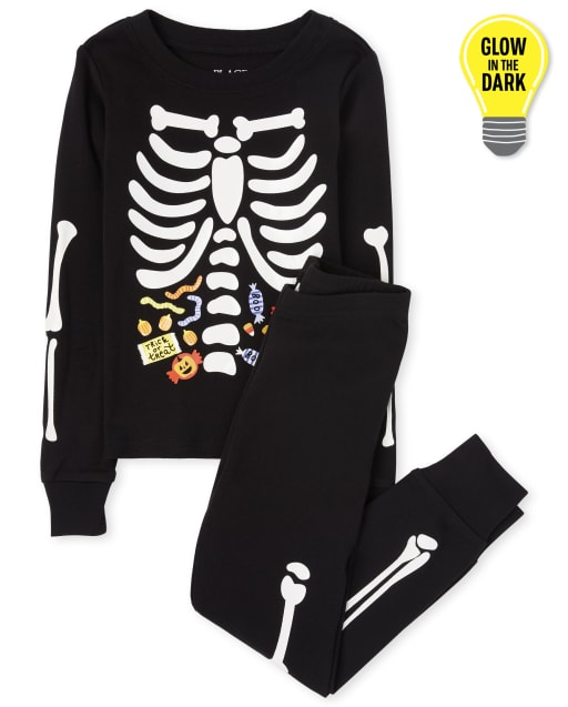 Unisex Kids Halloween Long Sleeve Glow In The Dark Candy Skeleton Snug Fit Cotton Pajamas