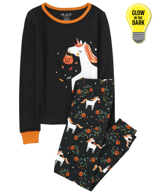 Girls Long Sleeve Halloween Glow In The Dark Unicorn Snug Fit Cotton Pajamas