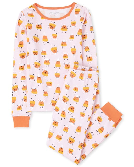 Girls Mommy And Me Halloween Long Sleeve Candycorn Matching Snug Fit Cotton Pajamas