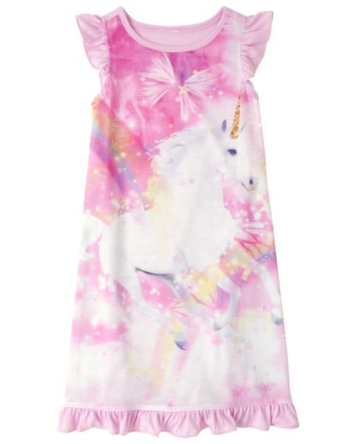Girls Short Flutter Sleeve Unicorn Rainbow Nightgown