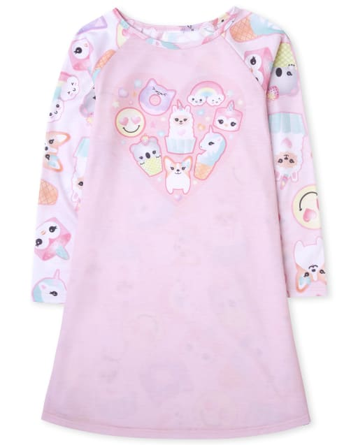 Girls Long Sleeve 'Sleepover Squad' Squishies Nightgown