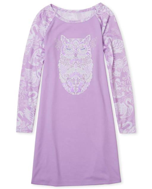 Girls Long Sleeve Owl Nightgown
