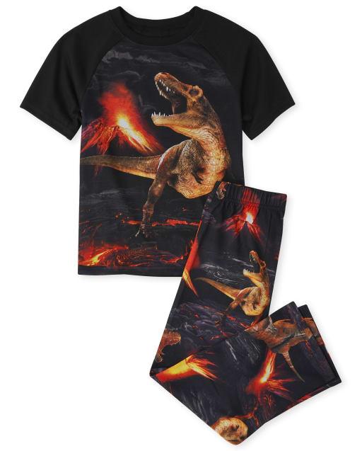Boys Short Raglan Sleeve Volcano Dino Pajamas