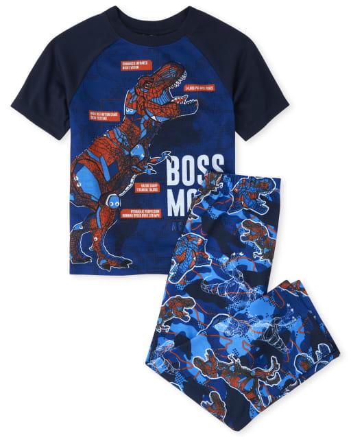 Boys Short Raglan Sleeve 'Boss Mode' Dino Pajamas