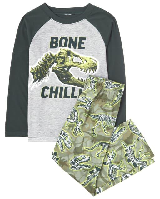 Boys Long Raglan Sleeve 'Bone Chillin' Dino Pajamas