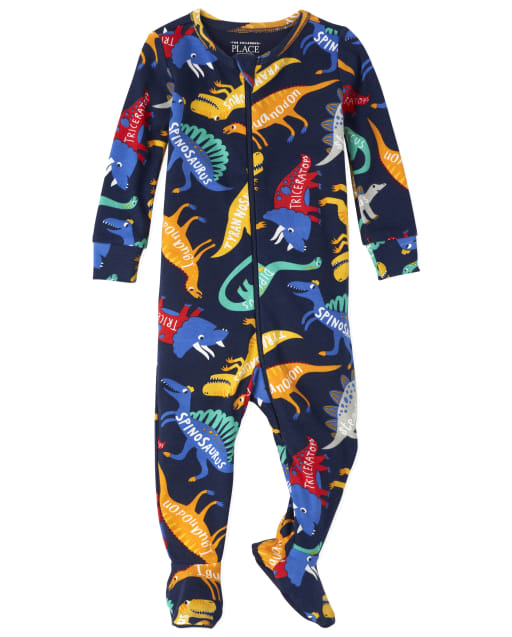 Baby And Toddler Boys Long Sleeve Dino Snug Fit Cotton Footed One Piece Pajamas