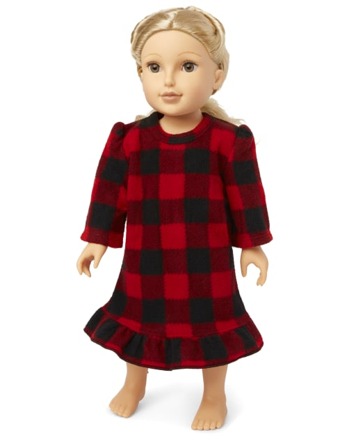 Doll Matching Family Christmas Long Sleeve Bear Buffalo Plaid Fleece Nightgown