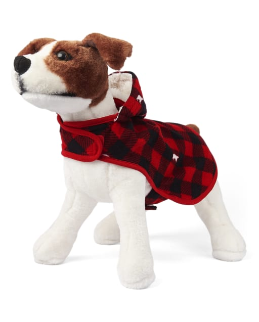Dog Matching Family Christmas Bear Buffalo Plaid Fleece Hooded Pajamas