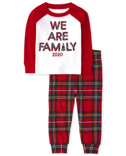 Unisex Baby And Toddler Matching Family Christmas Long Raglan Sleeve Family Tartan Snug Fit Cotton Pajamas
