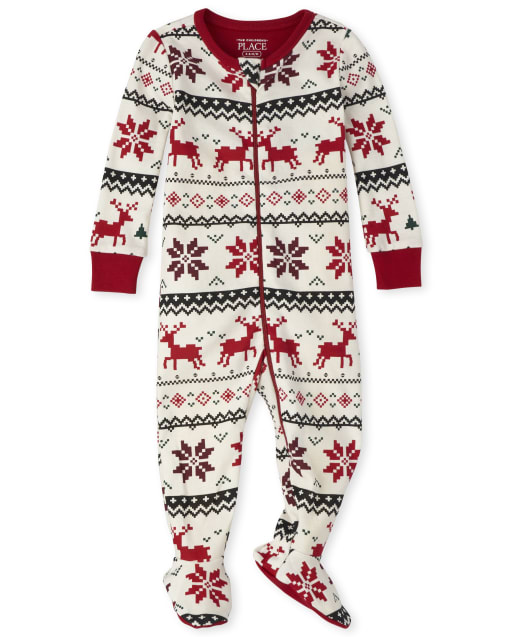 Unisex Baby And Toddler Matching Family Christmas Long Sleeve Reindeer Fairisle Snug Fit Cotton Footed One Piece Pajamas