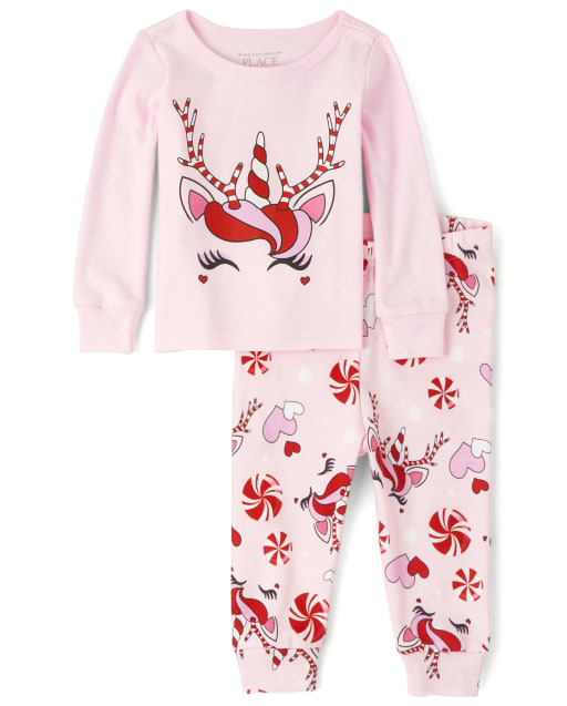 Baby And Toddler Girls Mommy And Me Christmas Long Sleeve Christmas Unicorn Snug Fit Cotton Matching Pajamas