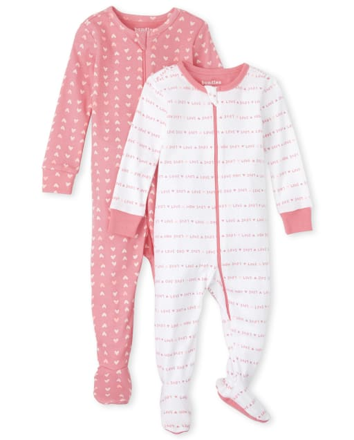 Baby And Toddler Girls Long Sleeve Love Family Snug Fit Cotton Footed One Piece Pajamas 2-Pack