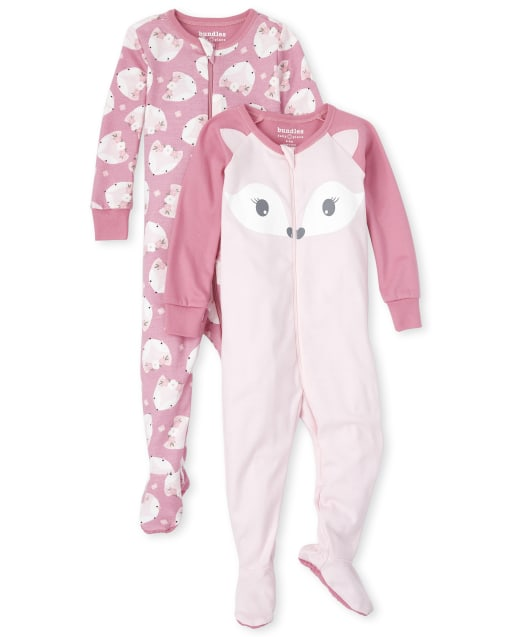 Baby And Toddler Girls Long Sleeve Fox Snug Fit Cotton Footed One Piece Pajamas 2-Pack