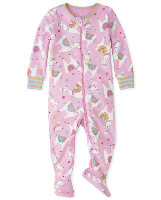 Baby And Toddler Girls Long Sleeve Llama Print Snug Fit Cotton Footed One Piece Pajamas