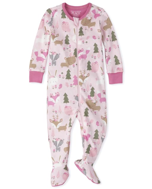 Baby And Toddler Girls Long Sleeve Forest Snug Fit Cotton Footed One Piece Pajamas