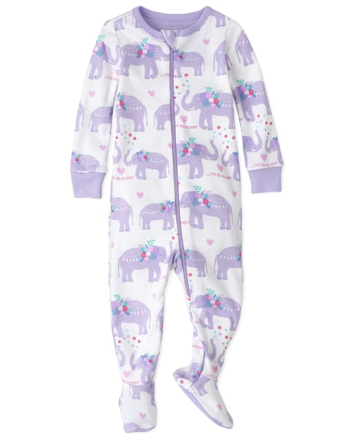 Baby And Toddler Girls Long Sleeve Elephant Snug Fit Cotton Footed One Piece Pajamas