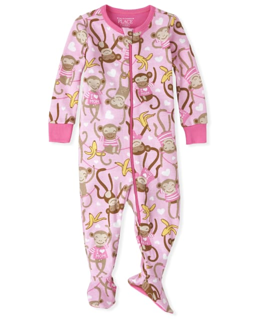 Baby And Toddler Girls Long Sleeve Monkey Snug Fit Cotton Footed One Piece Pajamas