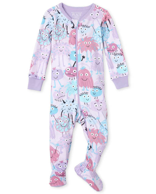 Baby And Toddler Girls Long Sleeve Monster Doodle Print Snug Fit Cotton Pajamas