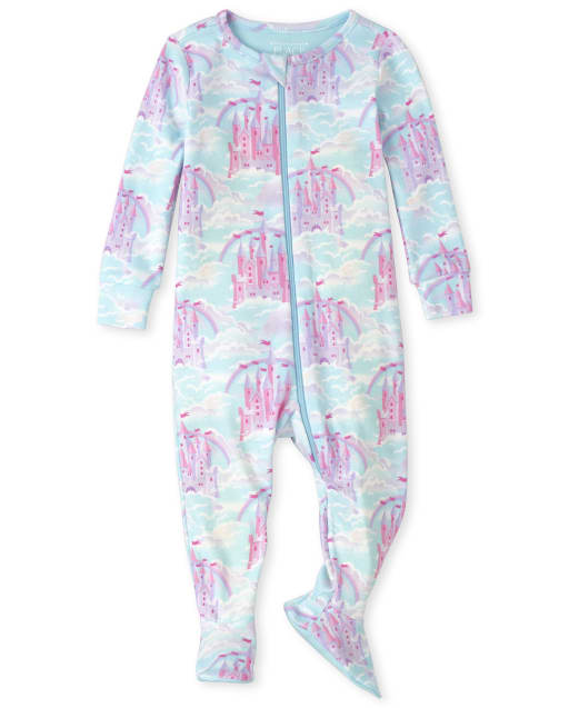 Baby And Toddler Girls Long Sleeve Castle Snug Fit Cotton Footed One Piece Pajamas
