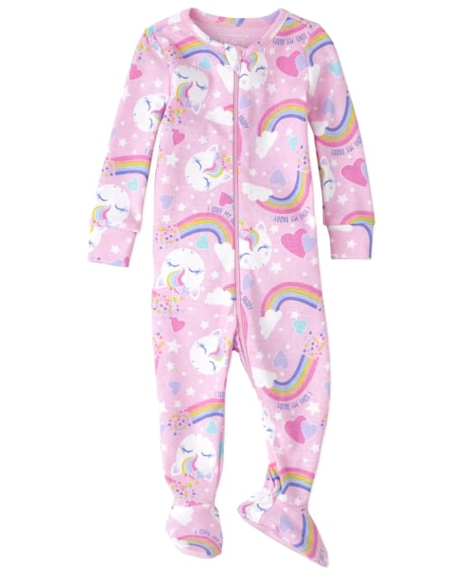 Baby And Toddler Girls Long Sleeve Rainbow Unicorn Snug Fit Cotton Footed One Piece Pajamas