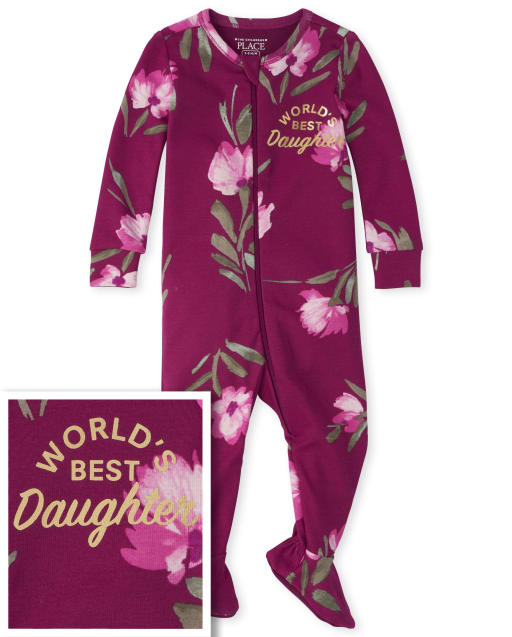 Baby And Toddler Girls Long Sleeve Floral 'World's Best Daughter' Snug Fit Cotton Footed One Piece Pajamas