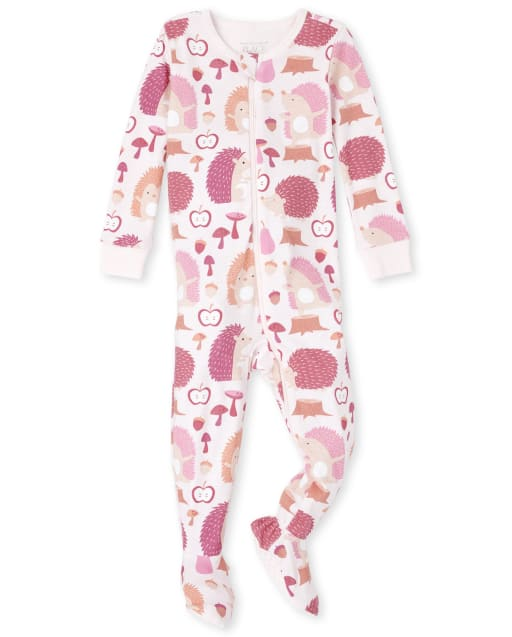 Baby And Toddler Girls Long Sleeve Hedgehog Print Snug Fit Cotton One Piece Pajamas