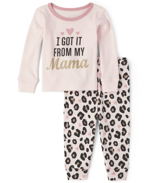 Baby And Toddler Girls Long Sleeve 'I Got It From My Mama' Leopard Print Snug Fit Cotton Pajamas