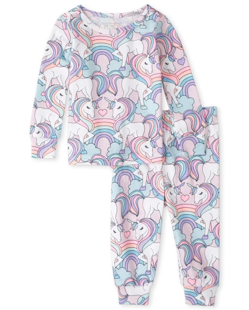 Baby And Toddler Girls Long Sleeve Unicorn Print Snug Fit Cotton Pajamas