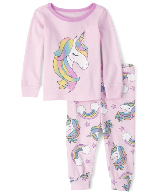 Baby And Toddler Girls Long Sleeve Rainbow Unicorn Snug Fit Cotton Pajamas