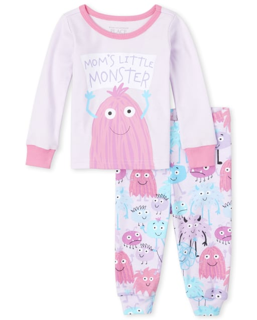 Baby And Toddler Girls Long Sleeve 'Mom's Little Monster' Monster Snug Fit Cotton Pajamas