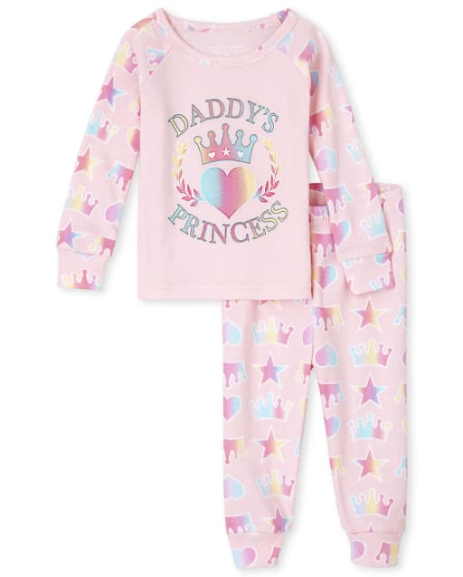 Baby And Toddler Girls Long Sleeve 'Daddy's Princess' Snug Fit Cotton Pajamas