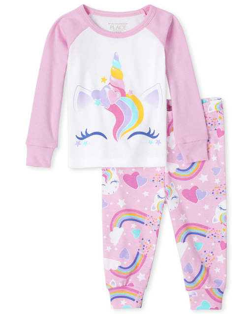 Baby And Toddler Girls Long Sleeve Unicorn Snug Fit Cotton Pajamas