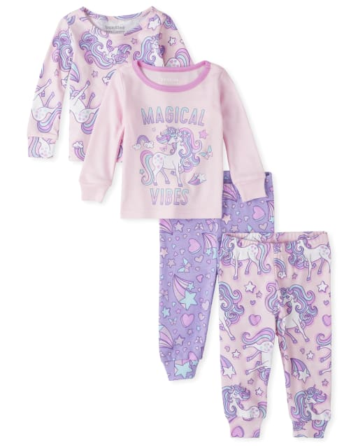 Baby And Toddler Girls Long Sleeve Unicorn Snug Fit Cotton 4-Piece Pajamas