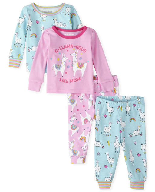 Baby And Toddler Girls Long Sleeve Llama Snug Fit Cotton 4-Piece Pajamas