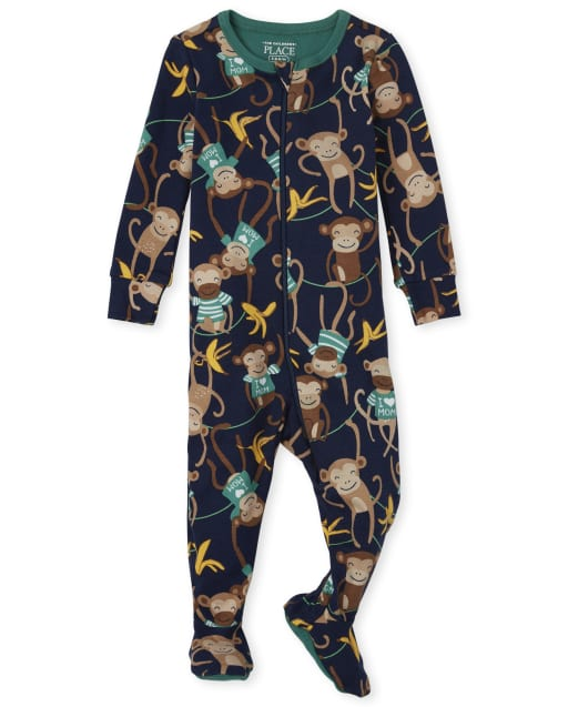 Baby And Toddler Boys Long Sleeve Monkey Snug Fit Cotton Footed One Piece Pajamas