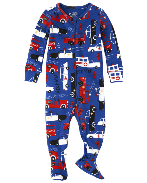 Baby And Toddler Boys Long Sleeve Police Snug Fit Cotton Footed One Piece Pajamas